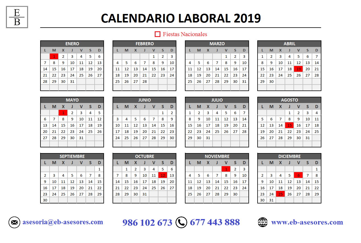 Calendario Laboral Pontevedra 2019.Calendario Laboral 2019 My Cms Calendario Laboral 2019